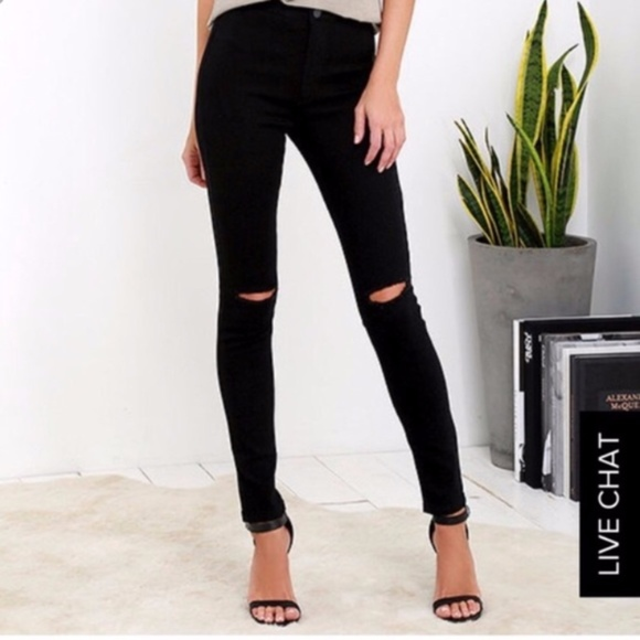American Bazi Denim - American Bazi High Rise One Knee Cut Skinny Jeans